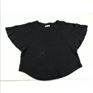 Madewell Black Flutter Sleeve Top SZ S Cropped